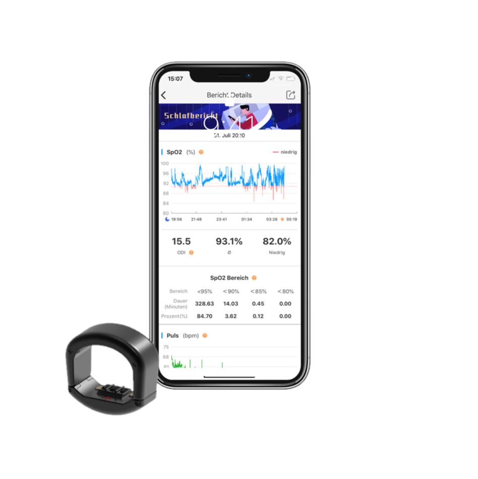 Der CIRCUL Fitness Tracker Ring vor einem Smartphone mit einem geöffneten Schlafbericht auf dem Bildschirm